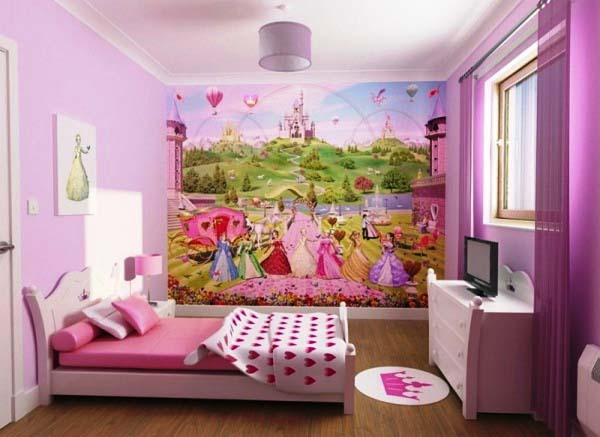 Декор и зонирование в комнате для девочек