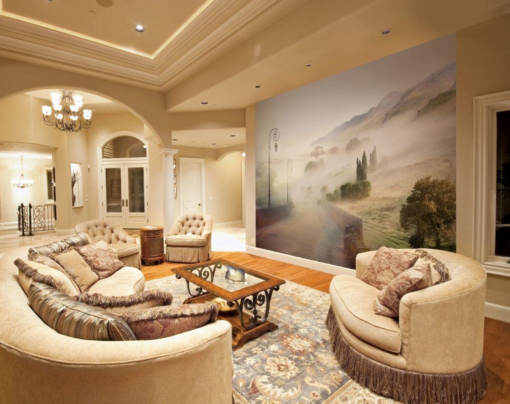 3d обои в классической гостиной с изображением дороги и полей