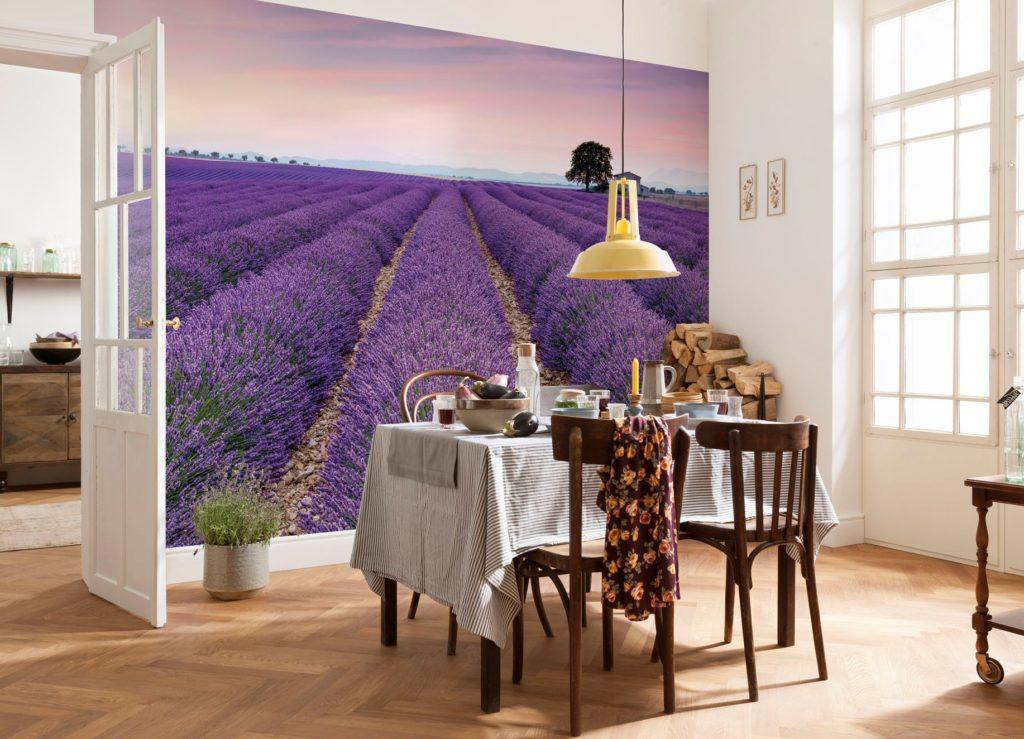 3d обои в просторной столовой с изображением цветочного поля