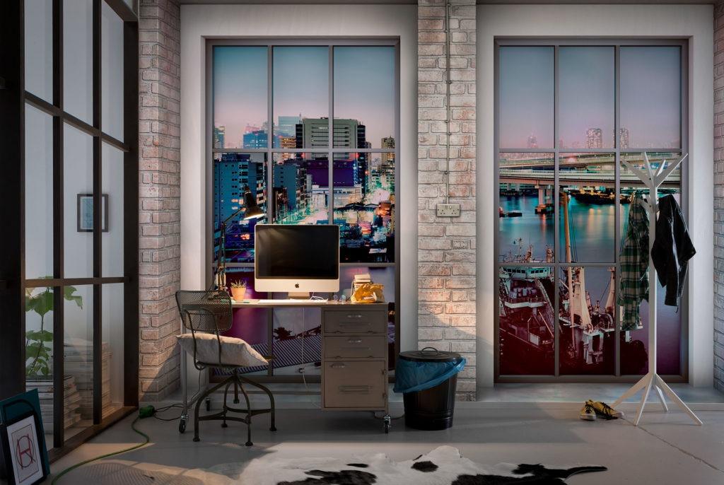 3d обои с имитацией окно с изображением города