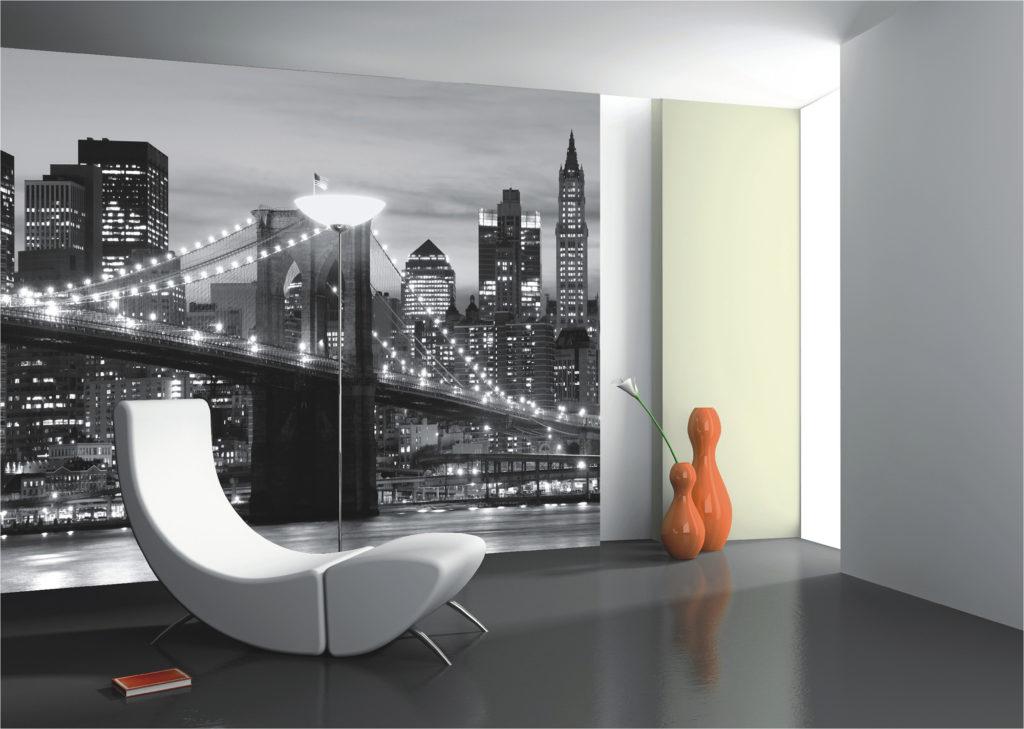 Панель с 3d обоями в гостиной с изображением ночного города