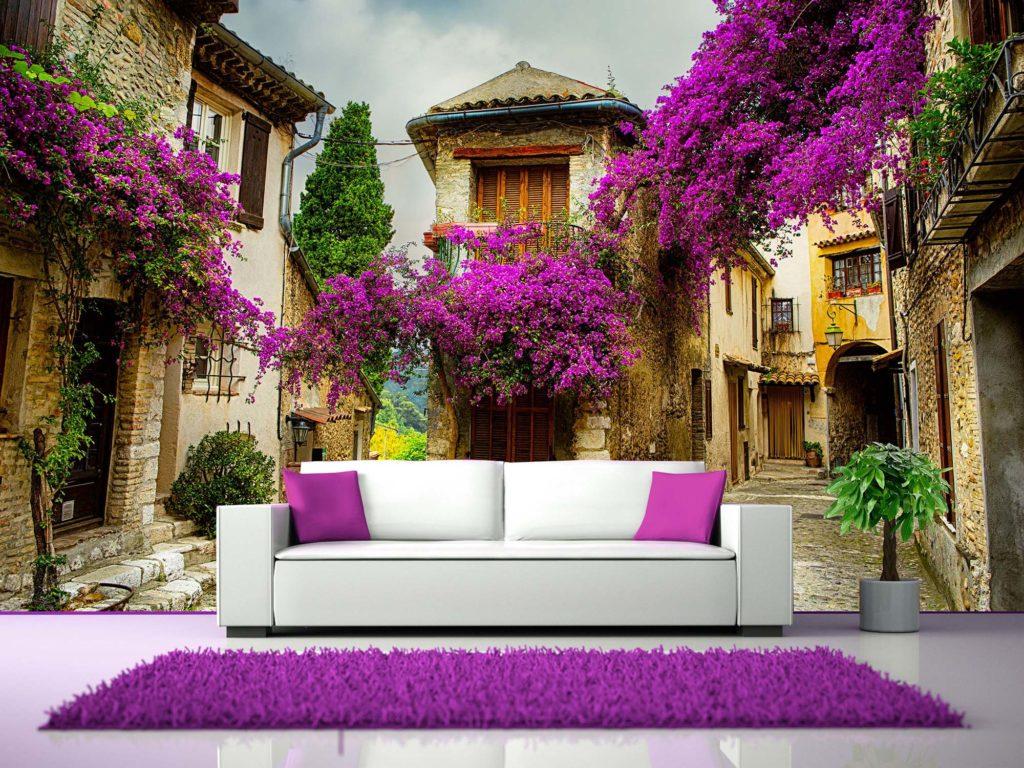 Панорамные 3d обои с домами и цветами
