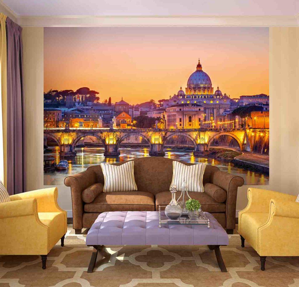 3d обои в интерьере с изображением вечернего города