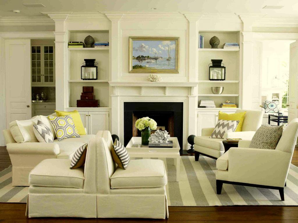 Светлая гостиная в классическом американском стиле