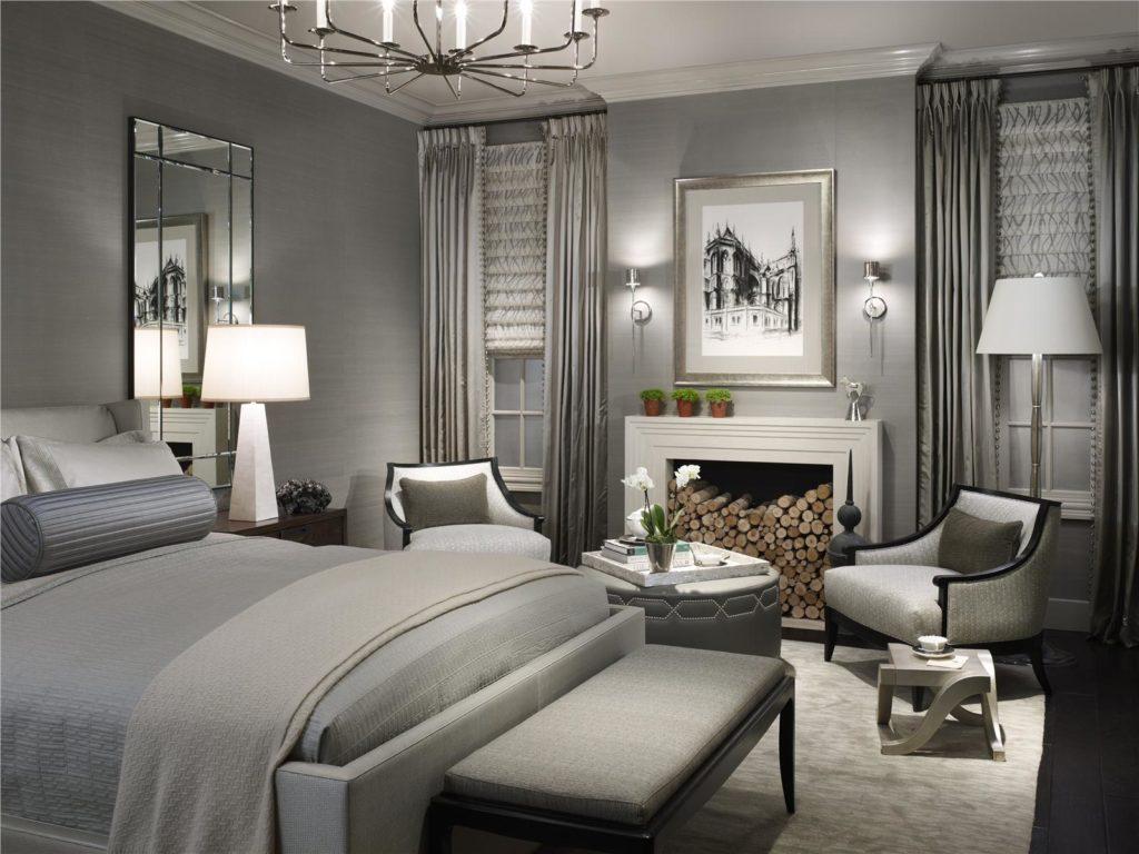 Спальня в серых тонах в американском стиле
