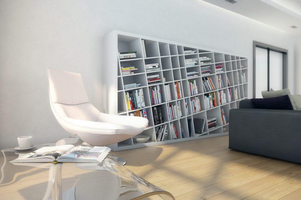 Светлая зона для чтения в лаконичном американском стиле