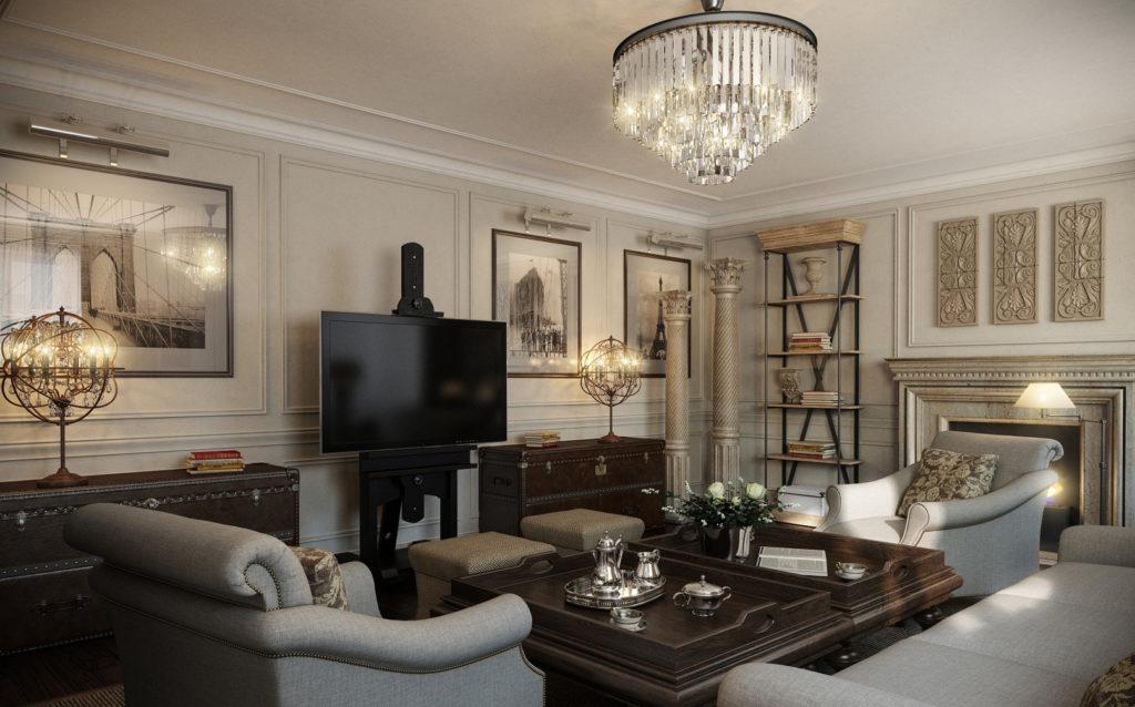 Американский стиль в классической гостиной