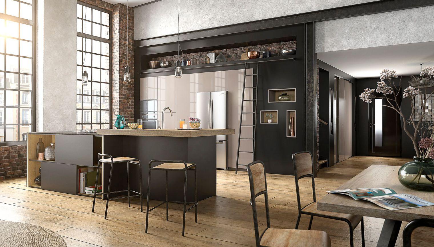 Расположение холодильника на большой кухне