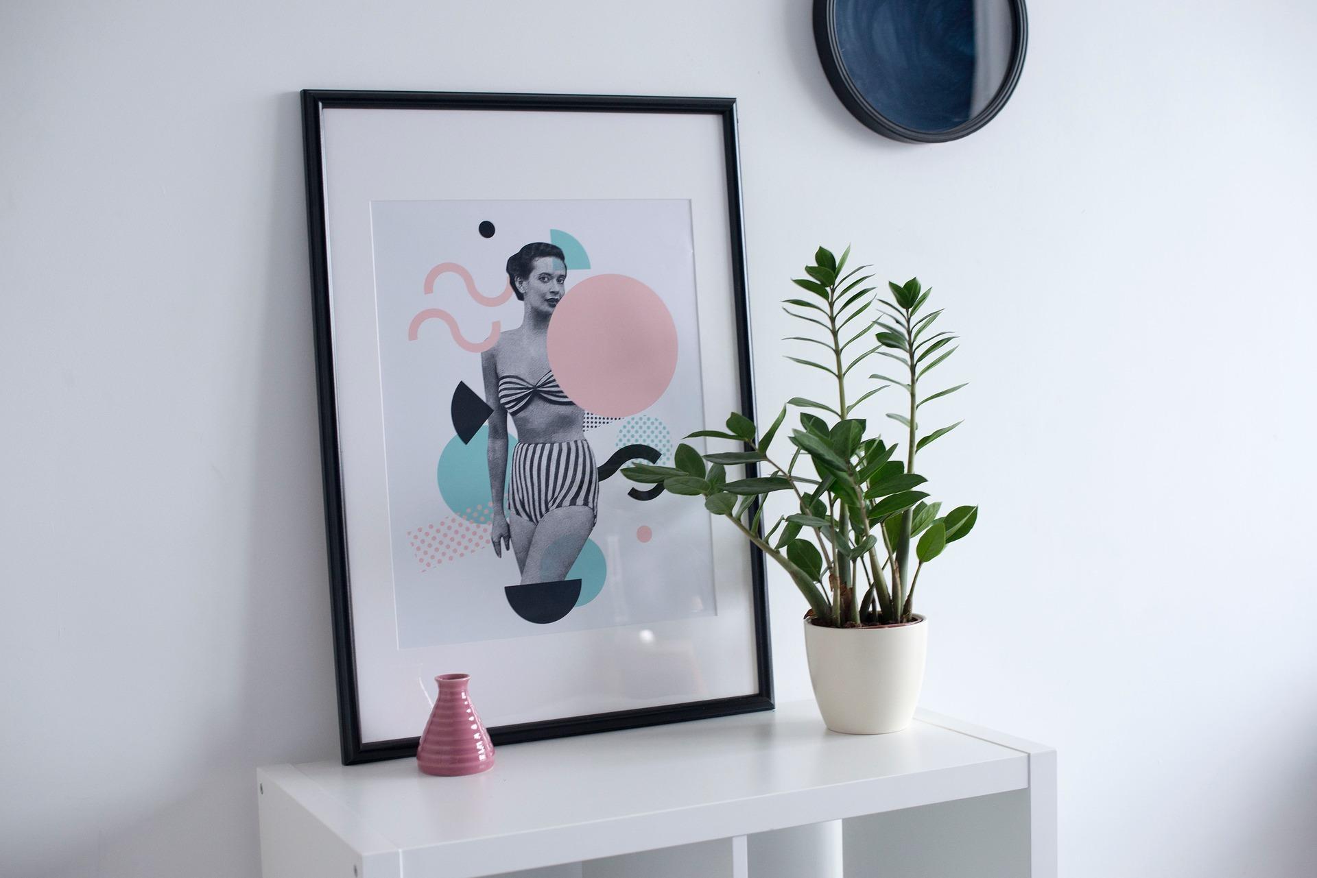 Картина в интерьере черно-белая