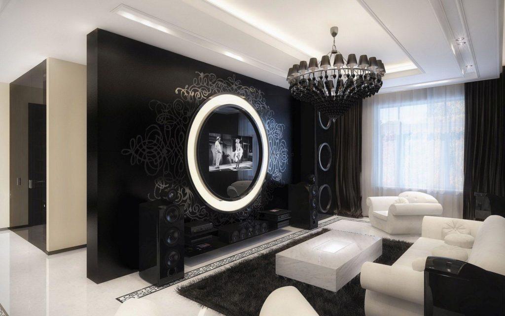 В большой комнате черный цвет выглядит очень выгодно