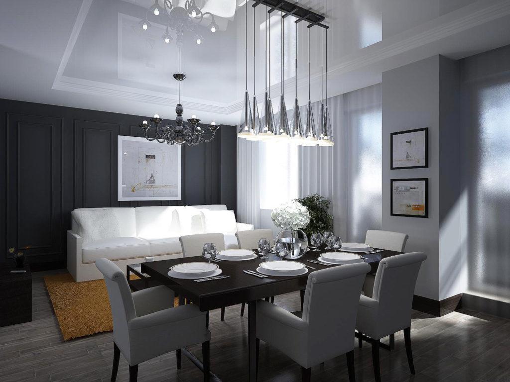 Черные обои в столовой добавляют спокойствия и уюта