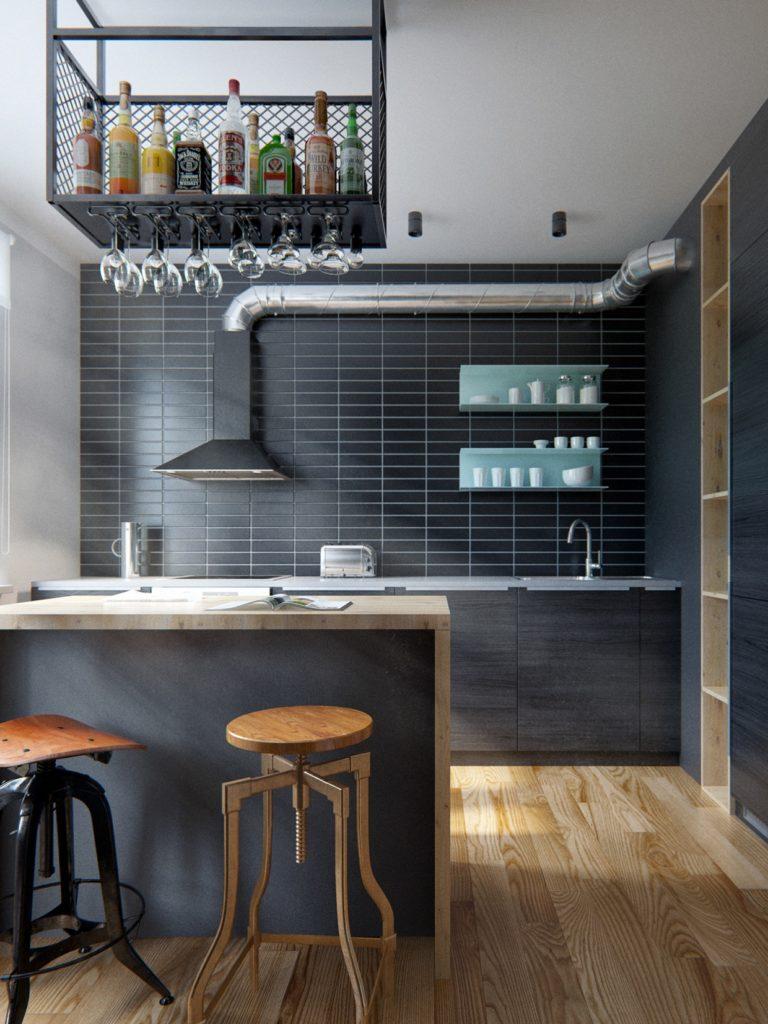 Кухня с черной плиткой