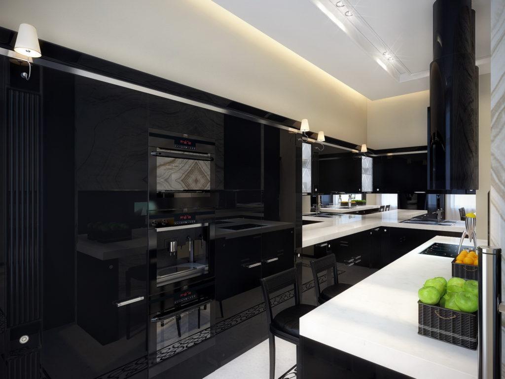 Контрастная черно-белая кухня