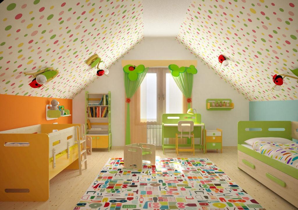 Детская комната в просторной светлой мансарде