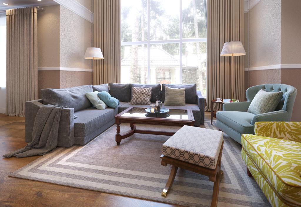 Сдержанный дизайн интерьера гостиной