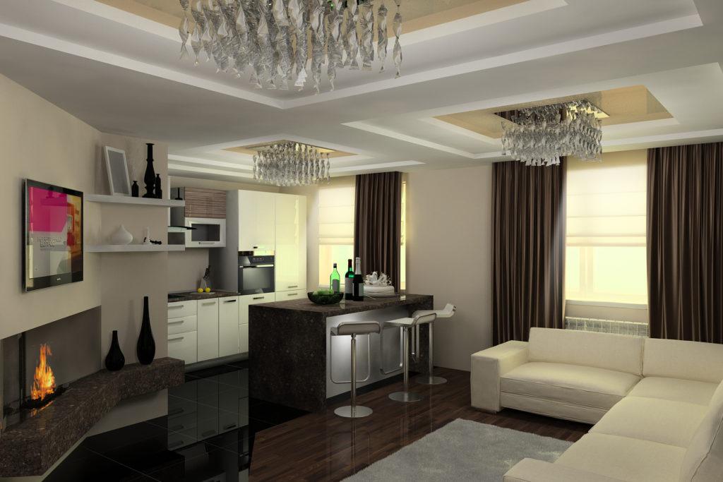 Зонирование гостиной и кухни в минималистичном стиле