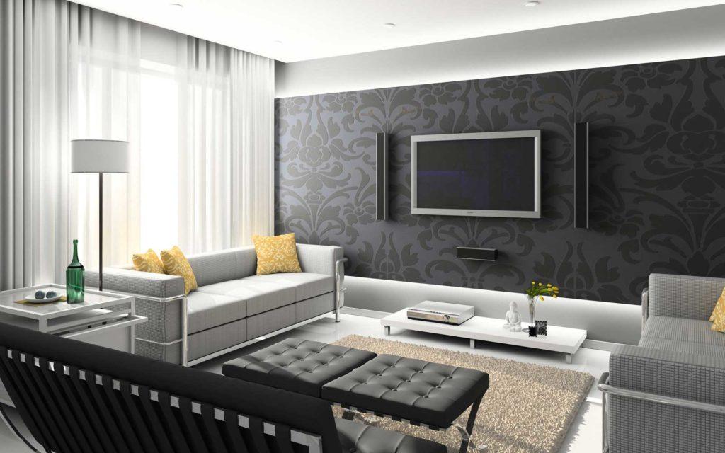 Строгий дизайн небольшой гостиной в квартире