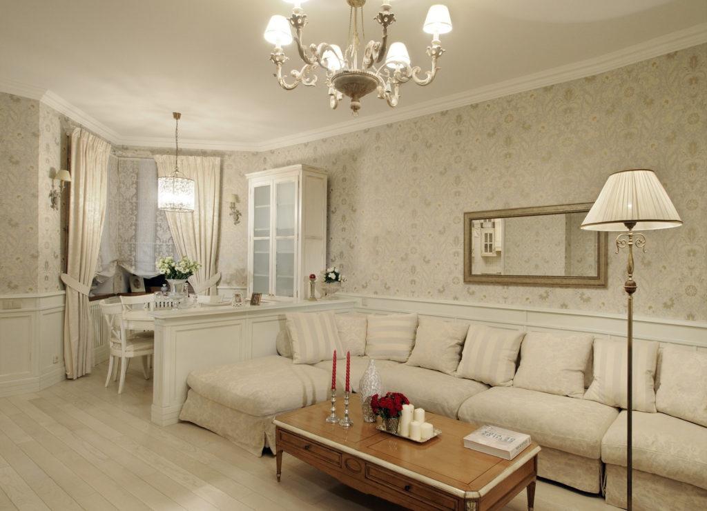 Зонирование гостиной и столовой в классическом светлом стиле