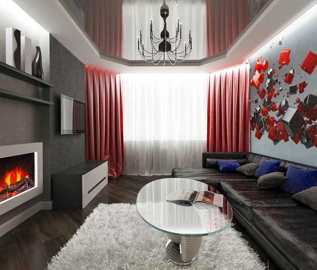 Красно-черный дизайн небольшой гостиной