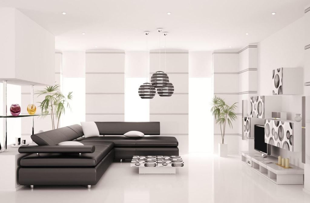 Современный черно-белый дизайн гостиной