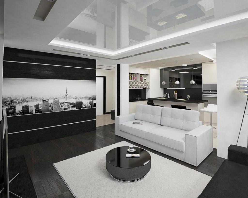 Современный хайтек дизайн гостиной и столовой