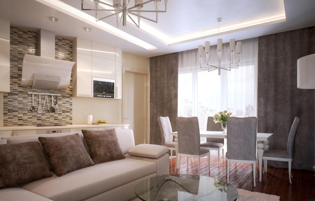 Бежево-серый дизайн совмещенных гостиной и кухни