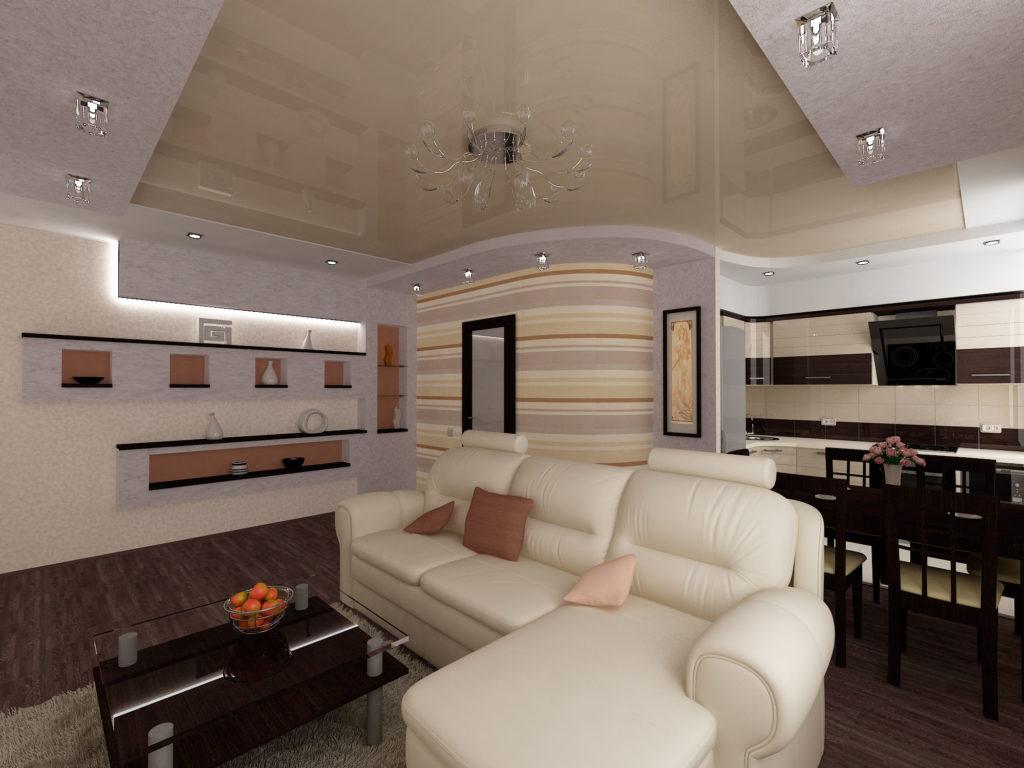 Дизайн гостиной с кухней в пастельных и черных тонах
