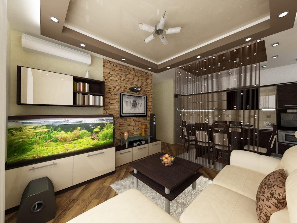Дизайн гостиной с аквариумом и совмещенной столовой