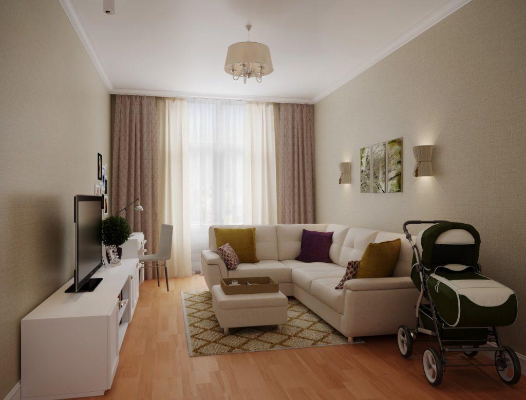 Лаконичный дизайн небольшой гостиной