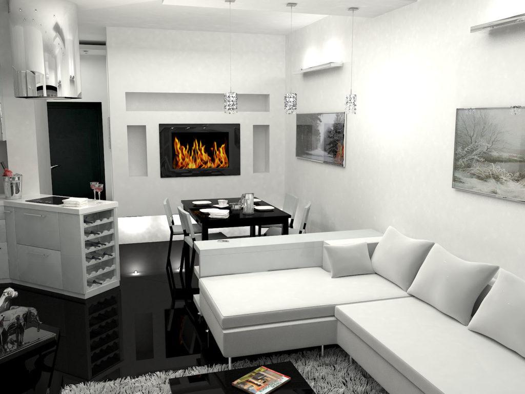 Современный минималистичный дизайн гостиной и столовой