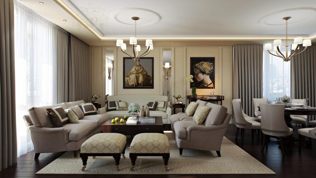 Красивая гостиная в спокойных тонах