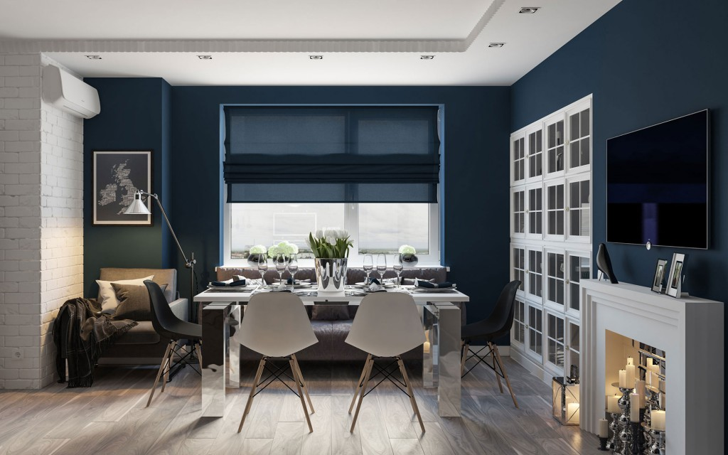 Стильная гостиная-столовая с декоративным камином