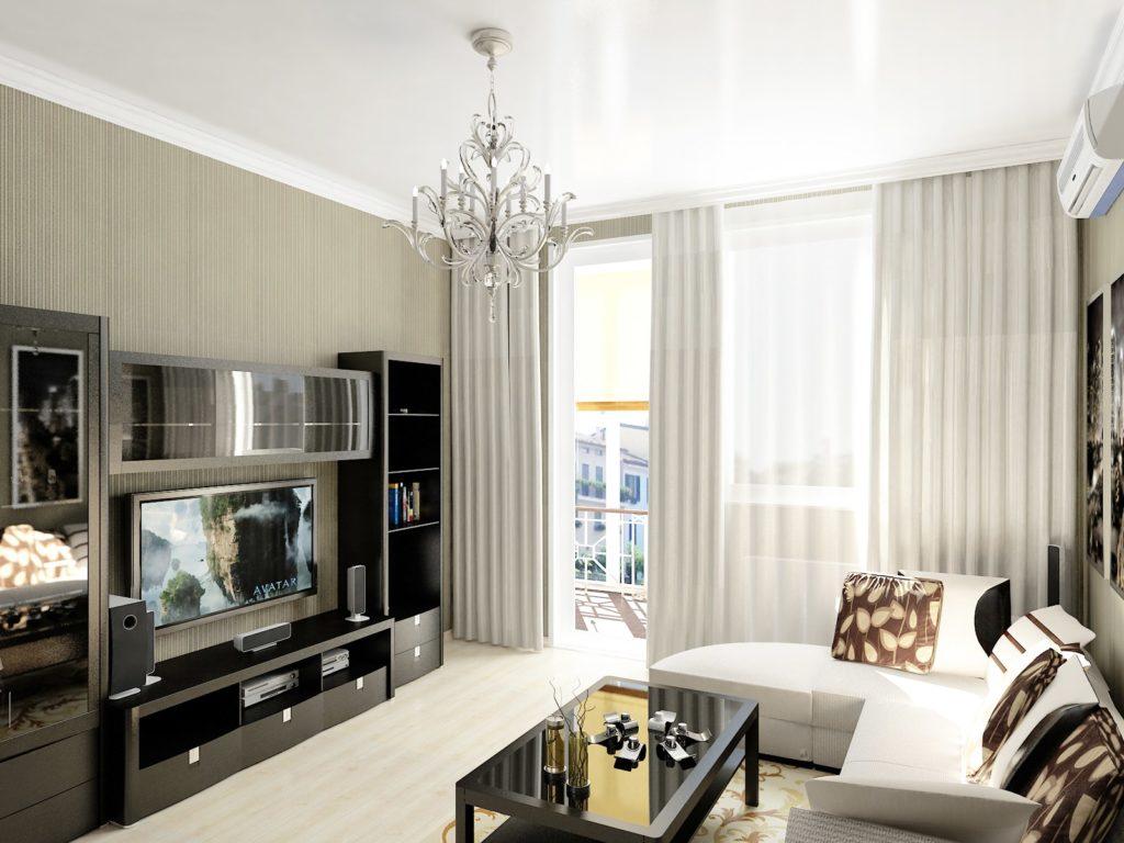 Контрастный современный дизайн гостиной