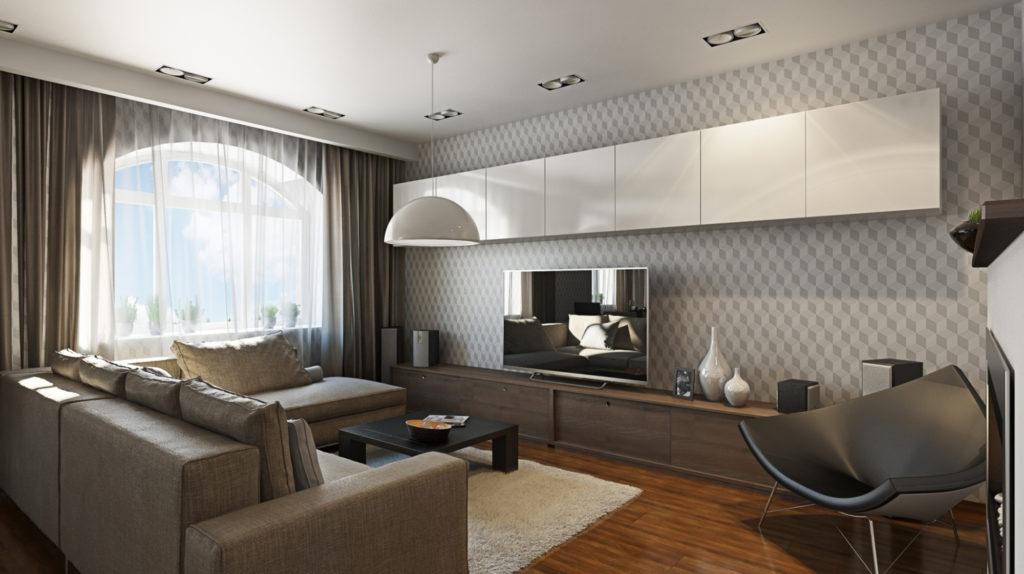 Освещение гостиной в стиле хайтек с помощью встроенного света и подвесной круглой лампы
