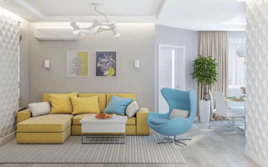 Свежий и светлый дизайн гостиной