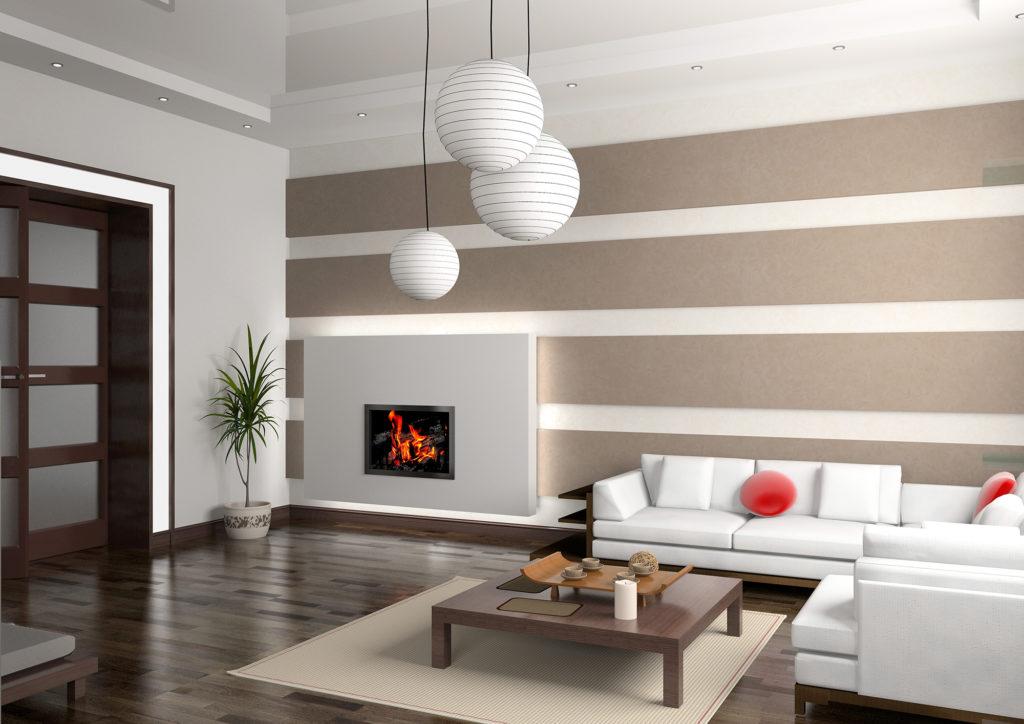 Светлый дизайн гостиной с камином