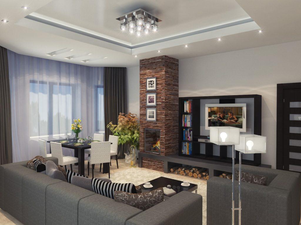 Дизайн гостиной с камином, совмещенной со столовой