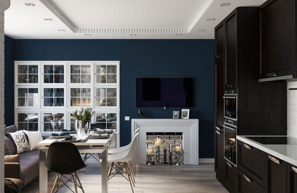 Совмещенная черно-белая гостиная и кухня