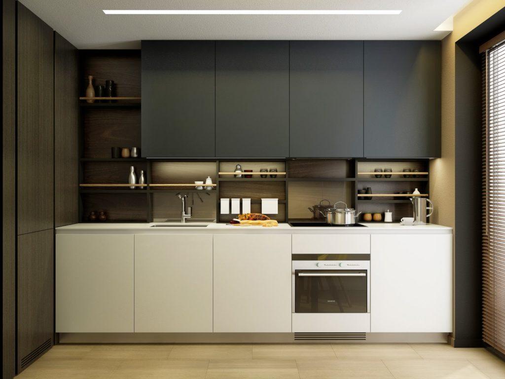 Просторная кухня в черно-белых тонах