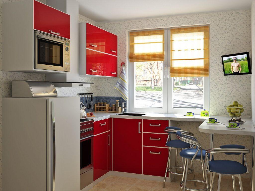 Уютные желтые римские шторы дял кухни