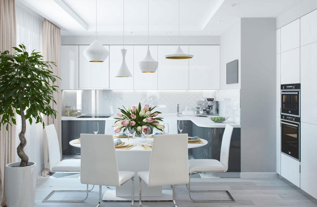 Современная светлая кухня с пастельными шторами
