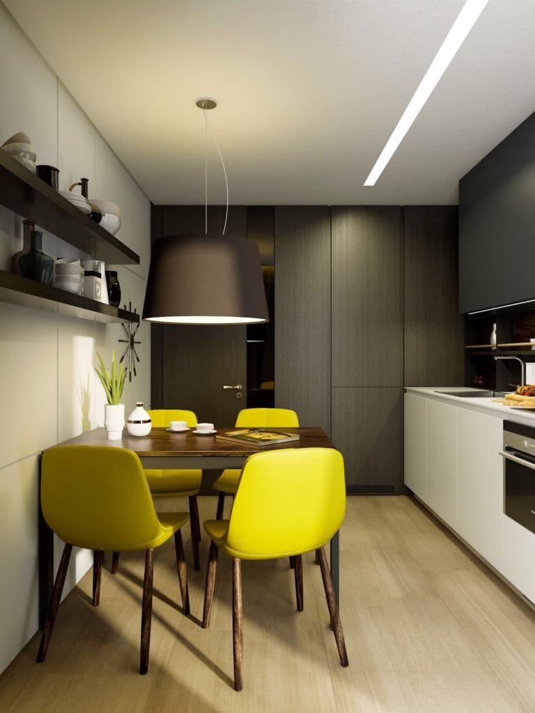 Современная маленькая кухня в черно-желтых тонах