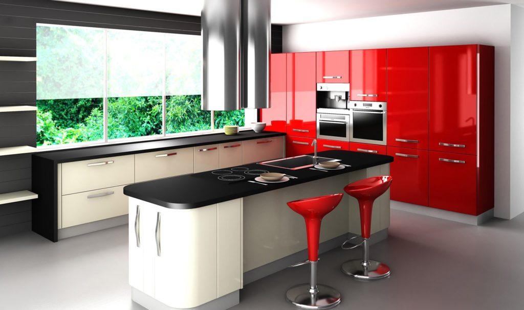 Наполовину матовые стекла окон в кухне