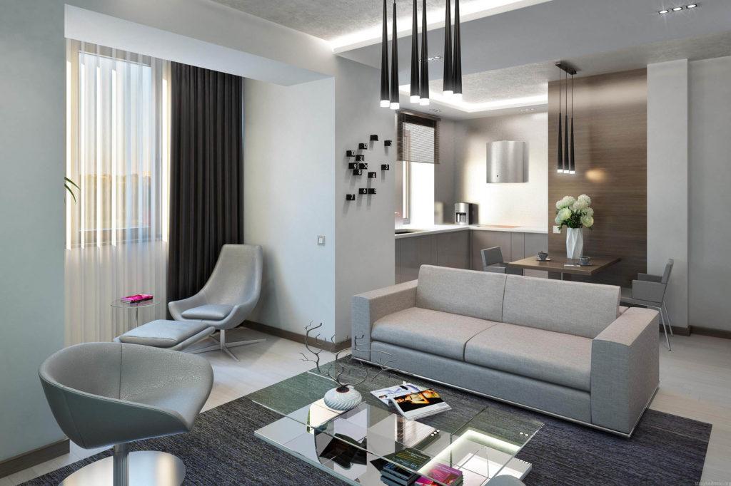 Совмещенные зоны кухни и гостиной в серых спокойных тонах
