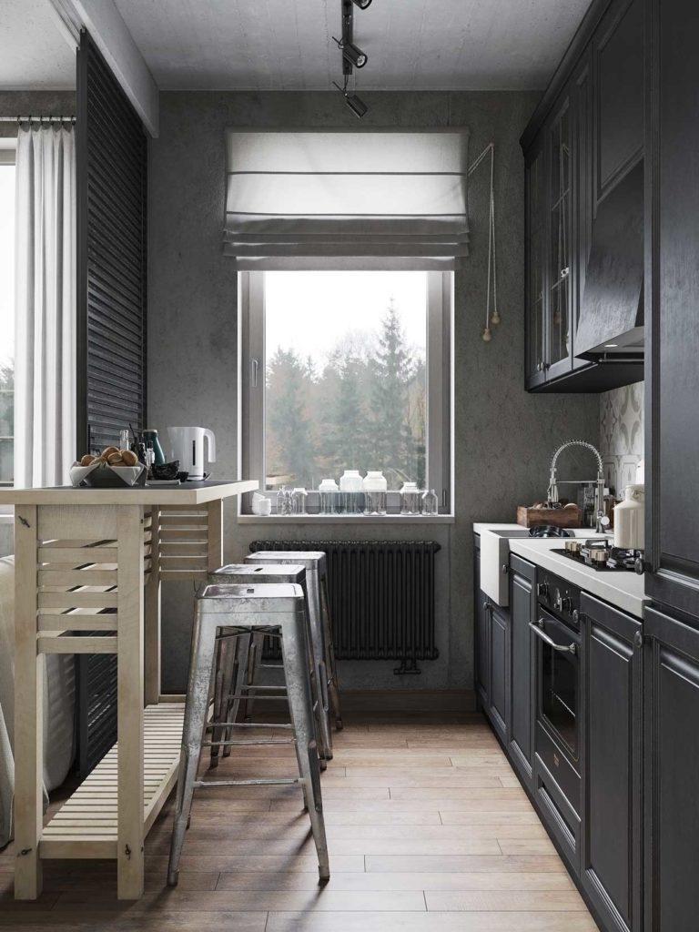 Серые римские шторы для небольшой кухни