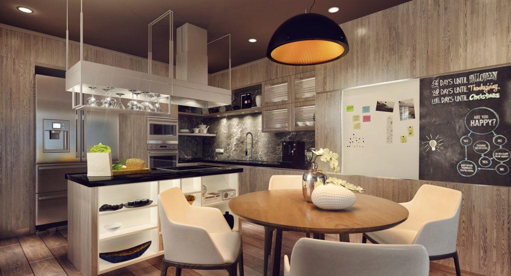 Кухня с каменной и деревянной отделкой