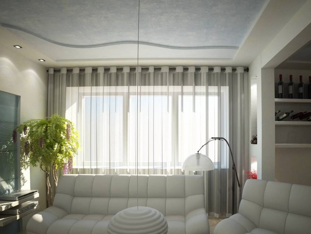 Полупрозрачные белые шторы для зала