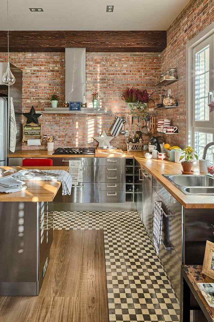 Кухонный фартук из кирпича