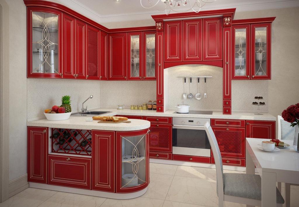 Классическая красная кухня с гнутыми фасадами
