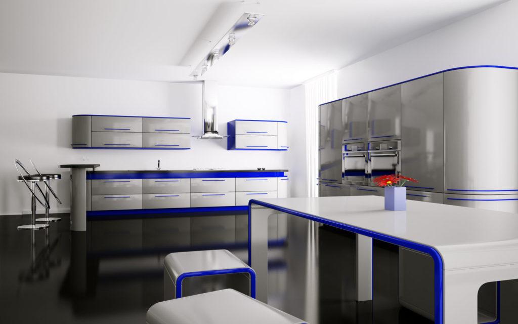 Серо-синяя кухня с пластиковыми фасадами